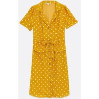 Yumi Yellow Spot Puff Sleeve Shirt Dress New Look
