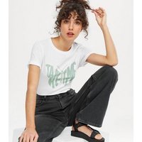 White Take Your Time Butterfly Logo T-Shirt New Look