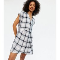 White Check Button Front Smock Dress New Look