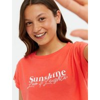 Girls Coral Sunshine Logo T-Shirt New Look