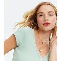 Light Green Ribbed Button Up Cropped T-Shirt New Look