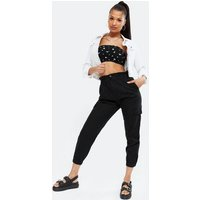 Black Ditsy Floral Bandeau Top New Look