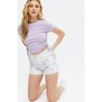 Lilac Wild Flower Ruched Side Logo T-Shirt New Look