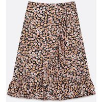 ONLY Black Ditsy Floral Wrap Skirt New Look