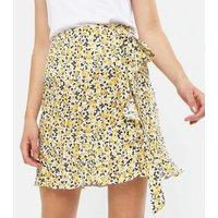 Mustard Ditsy Floral Frill Mini Skirt New Look