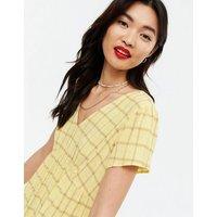 Yellow Check V Neck Tiered Smock Midi Dress New Look