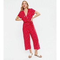 Red Spot Ruffle Wrap Crop Jumpsuit New Look