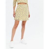 Yellow Ditsy Floral High Waist Mini Skirt New Look
