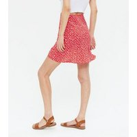 Red Ditsy Floral Bias Cut Mini Skirt New Look