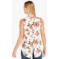 Apricot Off White Floral Button Sleeveless Top New Look