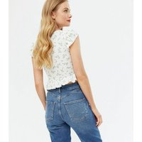 White Floral Ribbed Ruched Frill Tie Front Top New Look