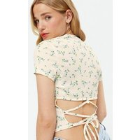 White Ditsy Floral Ribbed Lace Up Back T-Shirt New Look