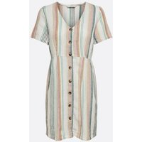ONLY White Stripe Linen Blend Button Mini Dress New Look