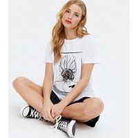 White Sketch Hair Bow Box T-Shirt New Look