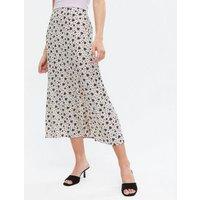White Floral Bias Cut Side Split Midi Skirt New Look