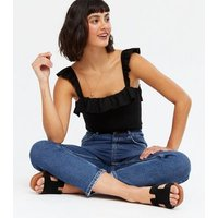 Black Ribbed Square Neck Frill Bodysuit New Look