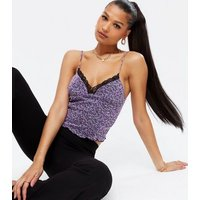 Purple Ditsy Floral Mesh Lace Trim Cami New Look