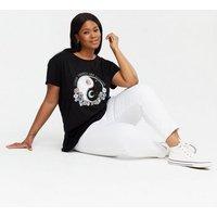 Curves Black Floral Yin and Yang Good Things Logo T-Shirt New Look