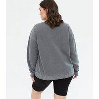 Curves Dark Grey Acid Wash Hope Logo Sweatshirt New Look