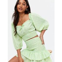 Light Green Ditsy Floral Shirred Frill Tie Front Crop Top New Look