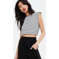 Pink Vanilla White Stripe Sleeveless Top New Look
