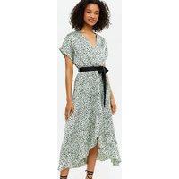 Green Animal Print Satin Tie Waist Ruffle Wrap Midi Dress New Look