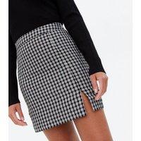 Black Check High Waist Split Hem Mini Skirt New Look