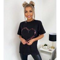 AX Paris Black Butterfly Heart T-Shirt New Look