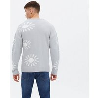 Men's Pale Grey Sun Relaxed Fit Jumper New Look