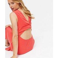 Coral Ribbed Twist Open Back Midi Dress New Look