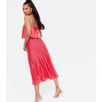 Red Satin Tie Strap Layered Pleated Midi Dress New Look