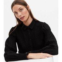 Black Shirred Puff Sleeve Shirt New Look
