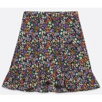 ONLY KIDS Black Floral Wrap Skirt New Look