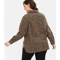 Curves Brown Leopard Print Shacket New Look