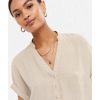 Stone Short Sleeve Overhead Shirt New Look