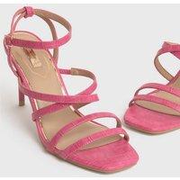 Little Mistress Bright Pink Faux Croc Strappy Stiletto Sandals New Look Vegan