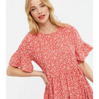 Red Ditsy Floral Mini Smock Dress New Look