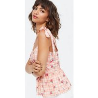 Orange Gingham and Floral Tie Strap Peplum Cami New Look