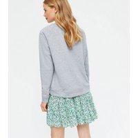 Yumi-Grey-Happy-Logo-Sweatshirt-New-Look