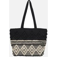 ONLY Black Jacquard Textured Shopper Bag New Look