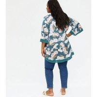 Mela Curves Turquoise Floral Satin Kimono New Look