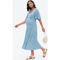 Maternity Blue Floral Flutter Sleeve Midi Dress New Look