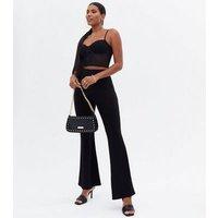 Black Mesh Bustier Crop Top New Look