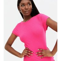 Bright Pink Ribbed Knot Back Midi Dress New Look