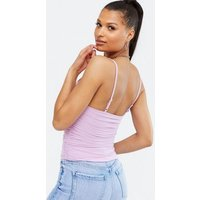 Lilac Mesh Ruched Lace Trim Crop Cami New Look