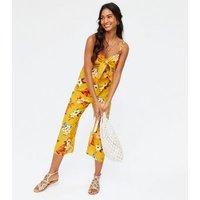 Mustard Tropical Linen Blend Knot Crop Jumpsuit New Look