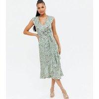 Light Green Spot Ruffle Midi Wrap Dress New Look