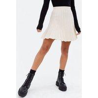Cream Knit Pleated Flippy Mini Skirt New Look
