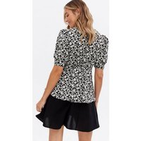 Maternity Black Floral Broderie Collar Peplum Blouse New Look