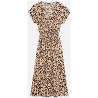 Tall Brown Leopard Print Split Hem Midi Wrap Dress New Look
